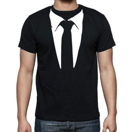 T-shirt da smoking online-New Novelty Uomo T Shirt Tuxedo Tees Retro Tie Divertente Camisetas Uomini O Collo Top Tshirt Fitness Casual Abbigliamento Uomo