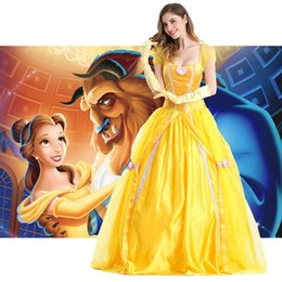Wholesale Belle Beauty Beast Costumes Adults - New 2017 Fantasia Women Halloween Cosplay Southern Beauty And The Beast Adult Princess Belle Costume Yellow Long Dress