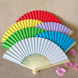 Wholesale Solid Color Fans - Wedding Favors Gifts Elegant Solid Candy Color Paper Bambo Fan Cloth Wedding Hand Folding Fans+DHL Free Shipping