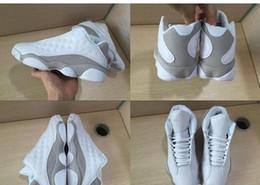 Wholesale Purple Platinum - 2017 New Retro 13 Men Basketball Shoes Air Retro Low GS Pure Money White Metallic Silver Platinum Sneakers US8-US13