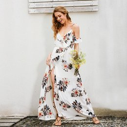 Wholesale Kimono Sleeve Maxi Dress New - Rushed S M 2017 Spring Summer New Arrival Cheap Halter Floral Printed Bohemian Style Deep-v Spaghetti Straps Women's Maxi Dress