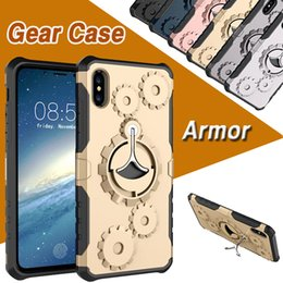 Wholesale Gear Case Cover - Mechanical Gear TPU+PC Hybrid Case Sports Gym Running Armband Stand Holder Cover Armor Cases For iPhone X 8 7 Plus 6 6S Samsung Note 8 S8