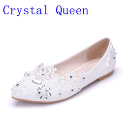 Wholesale Beaded Flat Dress Shoes - Crystal Queen Women Flats Shoes Handmade Wedding Shoes Pearl Rhinestone Beaded Anklet Lace-Up White Bridesmaid Shoes
