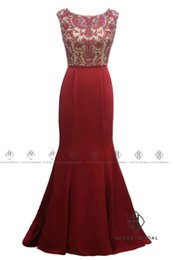 Wholesale Modal Photos - HarveyBridal Backless Crystal Memriad Red Prom Dresses Long 2017 Tank Top V-neck Hand Beading Formal Evening Gowns Real Picture Party Gown