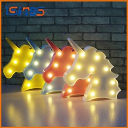 Wholesale Animal Kids Light - Cute Unicorn Head Led Night Light Animal Marquee Lamps On Wall For Children Party Bedroom Decor Kids Gifts