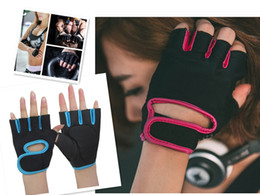 Wholesale Bowling Gloves - Men Womens Sports Fitness Exercise Gloves Workout Weight Lifting Gym Mittens Sports Gym Gloves Half Finger Breathable Weightlifting Fitness