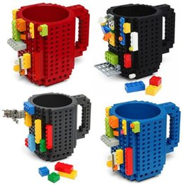 Wholesale Puzzles Black White - 1Piece Build-On Brick Mug Lego Type Building Blocks Coffee Cup DIY Block Puzzle Mug 12oz 350 ml Christmas Mugs Gift