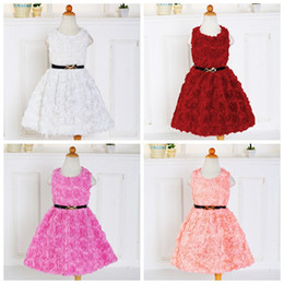 Wholesale Toddler Ball Gown Pattern - 2017 Girls Tulle Flower Lace Princess Wedding Dresses with Rose Wave Hollow Pattern Dress For Toddler and Baby Girl Clothes Kids Clothing