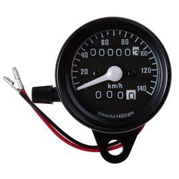 Wholesale Speedometer Led - Motorcycle Universal Dual Odometer Speedometer Gauge Speed Meter Night Light LED Backlight Modification Part 12V 0-140km h