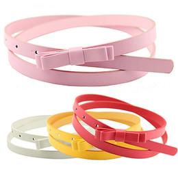 Cuir de ceinture étroite en Ligne-Gros- Bluelans Women 's Candy Color 2 couches Bowknot Thin Narrow Belt Ceinture en cuir PU sangle