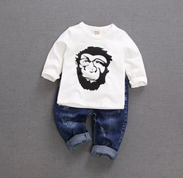 Wholesale New Baby Embroidery Jeans - 2017 autumn new children trousers baby casual fashion jeans boy download in the waist wash cloth paste technology cotton trousers tide