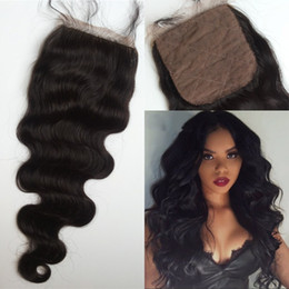 Wholesale Silk Based Top Closures - Silk Base Top Closure with Baby Hair Mongolian Virgin Hair Body Wave Natural Color Cheap Silk Closure FDSHINE HAIR