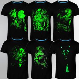 Wholesale Glow T - Summer Brand Clothing Novelty Mens Tshirt Homme 3D Glow In The Dark Luminous T Shirt Men Wolf Printed Short Sleeve Tee
