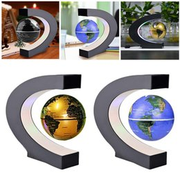 Wholesale Magic Lighting - Novelty C Shape LED World Map Floating Globe Magnetic Levitation Light Antigravity Magic Novel Lamp Birthday Home Dec Night lamp