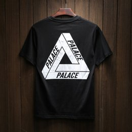 Wholesale Western Shirts Xl - Western New Design Brand Palace Skateboard Men Women T Shirt 2017 Summer Pure Cotton Short Sleeve Classic Triangle Print Hip Hop Streetwear