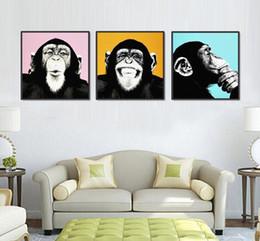 Wholesale Square Melamine - 3pcs Melamine Sponge Board Canvas Oil Painting Picture Funny Monkey Frame Living Room Wall Art Paint Animal Prints On Canvas Art