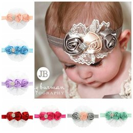 Wholesale Head Pc For Baby - Kids Girls Crystal Flower Lace Headbands Baby Nylon Hair Band Head Warp Holiday Gift For Children Hair Accessories 12 Color 12 pcs