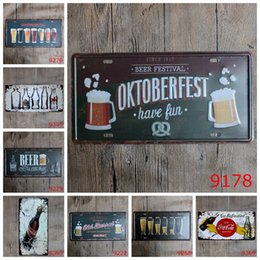 Wholesale Tin Gift Crafts - Antique License plates retro metal tin signs beer oktoberfest wall decoration plaque vintage iron painting art pub bar Christmas craft gift
