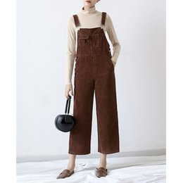 Wholesale Women Suspender Pants - Retro Womens 2017 Corduroy Casual Loose Suspender Romper Dungaree Overalls Solid Bib Cargo Pants Long Jumpsuit Ninth Length Trousers