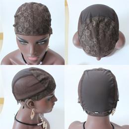 Chapeaux de base de perruque en Ligne-Brown pas cher juif base perruque caps haute qualité maille tissage noir perruque cheveux net faisant des chapeaux, tissage perruque cheveux filets