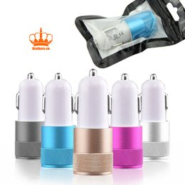 Wholesale Dual Usb Cell Phone Charger - Colorful 2 Port Dual USB Mini Aluminum Universal 12V 2.1A Usb Car Charger Adapter Cable For iphone 5 6 7 Cell Phones Tablet PC With Retail