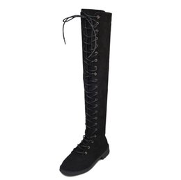 Wholesale Long Black Round Shoe Laces - 2017 Women Long Boots Over The Knee Boots Lace Up Sexy Low Heels Women Shoes Flock Black Winter Warm Shoes Size 40