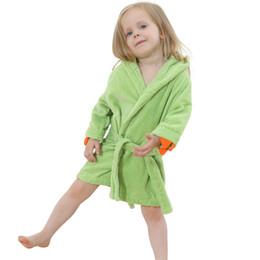 Wholesale Cartoon Pajamas Girls - IDGIRL Hooded Bathrobe 5 Colors Cartoon Animal Beautiful Dinosaur Style Baby Cotton Towel Girls Clothing Pajamas 7JY0245