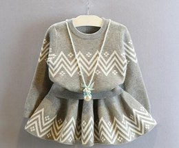Wholesale Cute Baby Girls Knitting Suits - Two pieces baby girls autumn spring western style suit little children kids autumn knitted pullovers + Half skirt cute gray