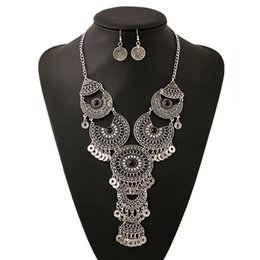 Wholesale Black Metal Earrings - Metal carved tassel necklace coins pendant women exaggerated jewelry hot sale Euramerican fashion trend of retro earing necklace set