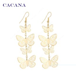 Wholesale Fly Earrings - CACANA Gold Plated Dangle Long Earrings For Women Flying Butterfly Fashion Top Quality Bijouterie Hot Sale No.A219 A220