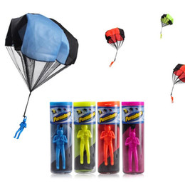 Wholesale Plastic Soldiers - Parachute Launcher land UFO Sky Diver With Figure Soldier Kids Children Outdoor Sport Play Toys Christmas Gifts Child Parachutes