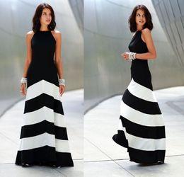 Wholesale Maxi Skirt Stripes - Summer women dress Black and white striped maxi dress backless skirt summer formal Stripes Evening dress
