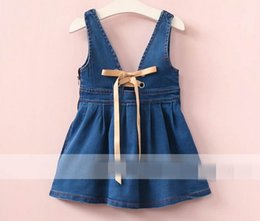 Wholesale Denim Lace Girls Suspenders - 2017 Autumn New Baby Girl overalls U-shaped neck back Lace-up denim overalls Children Clothing 317200