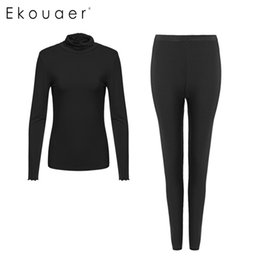 Wholesale Long John Thermals Wholesale - Wholesale- Ekouaer Fashion Warm Long Johns Winter Thermal Underwear Breathable Ladies Slim Underwears High Quality Warm Tights size S-XXL