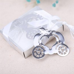 Wholesale Packing Boxes Supplies - Pumpkin Carriage Bookmark Metal Bookmark Gift Box Packing Wedding Favors Party Decoration Supplies Wedding Gifts For Guests