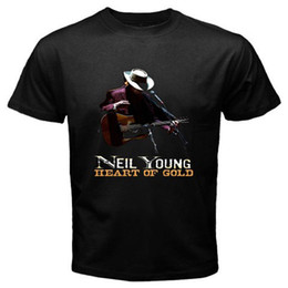 Wholesale Young Fashion Prints T Shirts - NEIL YOUNG CRAZY HORSE ZUMA Heart of Gold Music Men's Black T-Shirt Size S-3XL Men Short Sleeves T Shirt