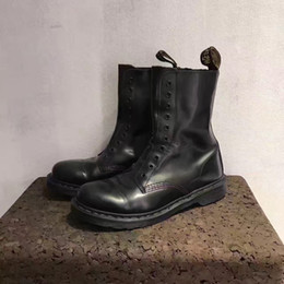 Wholesale Handmade Rivets - 2017 Exclusive handmade genuine leather vt martin Boot unisex women and men high top quality boots