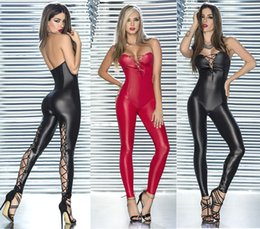 Wholesale Shiny Black Pvc Dress - Sexy Shiny PVC lingerie Catsuit Catwoman Ladies clubwear party Fancy Dress b404