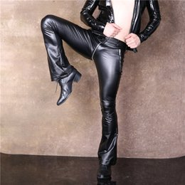 Wholesale Sexy Tights Leather - Wholesale- Men Faux Leather Baggy Pants Trousers Sexy Zip Crotch Slim Elastic Tights