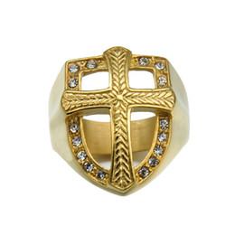 алмазный крест из нержавеющей стали Скидка Нержавеющая сталь мужская крест кольца белый кристалл стразы Алмаз хип-хоп щит shaped кольца для мужчин S хип-хоп ювелирные аксессуары
