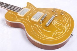 Wholesale Electric Guitar Goldtop Vos - Custom Shop Billy Gibbons 1957 Pinstripe Goldtop Aged Gold Top Electric Guitar Relic VOS Guitars Trapzoid Pearl Inlay Chrome Hardware