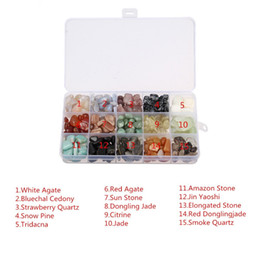 Wholesale Jade Talisman - Crystal Quartz Stone, 470g 15-Stone Mix: White & Red Agate,Sunstone,Aventurine Jade,Citrine,Smoky Quartz,Golden Obsidian,Snowflake