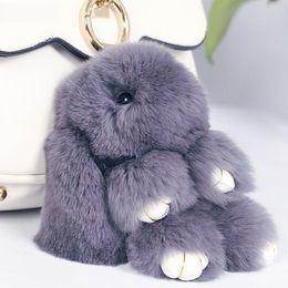 Wholesale trinket bags - 19 Colors Rabbit Furs Key Chain Pompom Fur Keychain Bag Charms Car Pendant Key Cover Trinket Women Chaveiro Keychains Handbag Keyrings