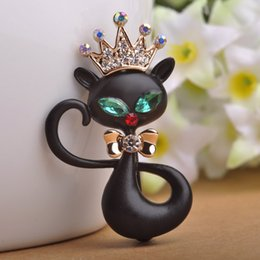 Wholesale Chinese Sexy Suit - Wholesale- Sexy Women Jewelry Children Best Gifts Chinese Cartoon Brooch Black Enamel Crown Wolf Queen Brooches Pins Dress Suit Scarf Clips