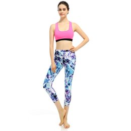 Wholesale Women Fashion Building Blocks Printed Yoga Capris Tight Sports Pants Fitness Running Gym S XL Black High Waist Fitness Ninth Yoga Pants