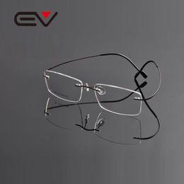 99f196f2834 Wholesale- 2015 EV High quality Super slim Titanium Rimless Eyeglasses  Myopia Glasses Frame for Man and Woman Memory Optical Glasses EV0963 optical  frames ...
