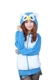 Wholesale Adult Costumes Owl - HappyBuy Owl Adult Unisex Costumes Side Pockets Hoodie Zip Closure Animal Costume Hooded jacket Kigurumi Cardigan Hoodies