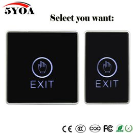 Wholesale Push Button Switch For Access - Door Exit Button Touch Release Push Switch Infrared Contactless Bule Backlight for access control systemc Electronic Door Lock