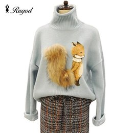 Wholesale Long Fox Fur Tail - Wholesale-High Quality 2016 New Autumn Fashion Popular Women Sweaters and Pullovers Fox Tail Fur Turtleneck Knitted Female Sweater Tops