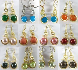 Wholesale Cheap Yellow Gold Earrings - Wholesale cheap 12mm green blue yellow pink red shell pearl   jade wedding party dangle earrings